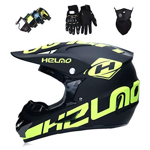 YXNB Casque de Motocross Kit Professionnel Casque de Moto Adultes Off-Road Cross Road Race Casque De Route Unisexe IntéGral Y Compris des Lunettes/des Gants/Masques,Beige,S(55~56cm)