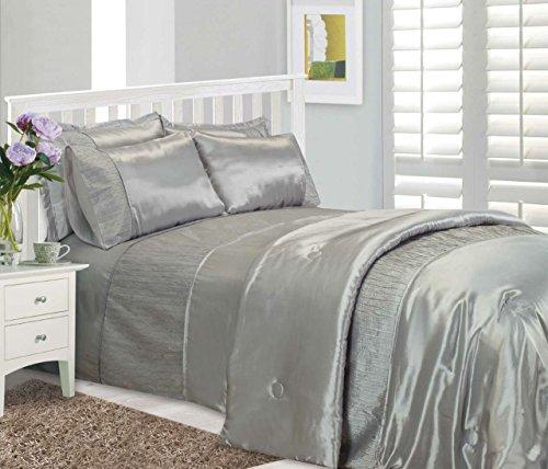 King Size Bett Serene-, Bettdecke/Quilt Betten-Set, von Ambiente, luxuriöse Kunstseide-Crinkle-Effekt Band, grau (Pintuck Band)
