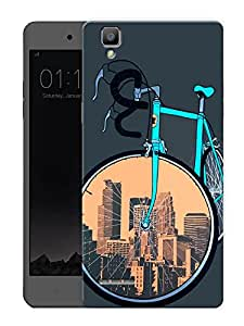 "Humor Gang Cycle Covers Cities Printed Designer Mobile Back Cover For ""Oppo F1"" (3D, Matte Finish, Premium Quality, Protective Snap On Slim Hard Phone Case, Multi Color)"