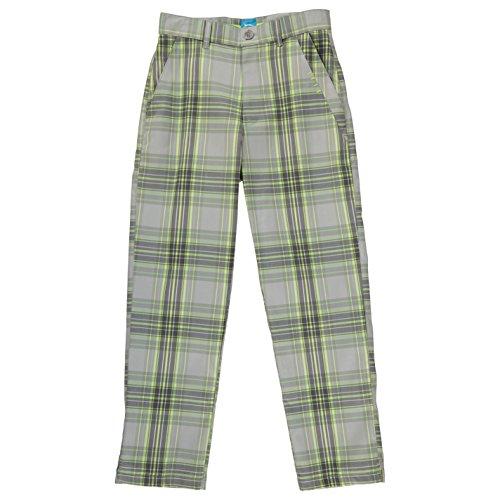 Junior Golf Hose (Slazenger Kinder Jungen Golf Hose Karo Muster Kariert Sporthose Bekleidung Grey/Acid 13 (XLB))