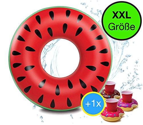 Riesen XXL 80 cm aufblasbarer Donut Wassermelone Melone rot Schwimmring Schwimmreif Luftmatratze Schwimmkissen für Pool, mit 1x aufblasbaren Getränkehalter für Cocktails, Getränke uvm.