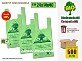 SCONTO 20% Shopper Biodegradabili Compostabili cm 24x14x40 - Scatola da 500 sacchetti, a Norma EN13432