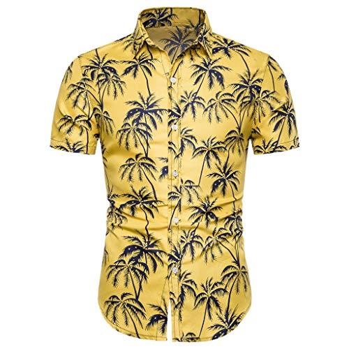 MOTOCO Camisa Manga Corta Estampado Rayas Hombre2XL,Amarillo-1
