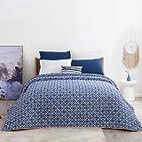Bedsure Copriletto Blu Geometria Stampata 260 x 240 cm - Trapunta Copri Letto per Primaverile e Estivo Moderno e Morbido