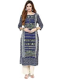 Jaipur Kurti Straight Printed Cotton Kurta (Blue)