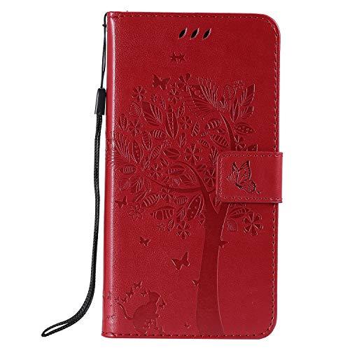Lomogo Cover iPhone XR, Custodia Portafoglio in Pelle Porta Carta di Credito con Chiusura Magnetica per Apple iPhone XR - LOKTU22237 Rosso