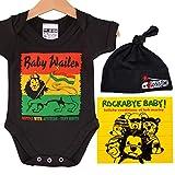 Reggae Rasta Baby Gift Box - Baby Wailer Babybody, Bob Marley Lullaby CD, berretto nero e adesivo nero Nero 6-12 mesi