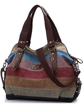 Rovanci Damen Multi-Color-Striped Canvas Damen Handtasche Umhängetasche für Frauen