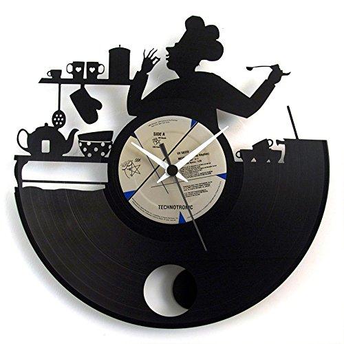 Küchenuhr Chef aus Vinyl mit Pendel, eine Geschenkidee für einen Koch oder die Küche, originale Uhr Vinyluse