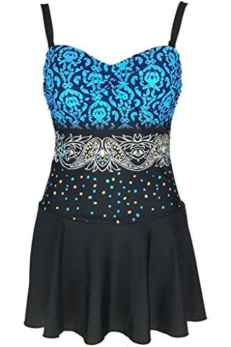 Große Größen Strandbekleidung Damen Einteiliger Badeanzug mit Röckchen  Eleganter Push Up Badekleid Marineblau