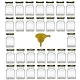 Viva Haushaltswaren - 30 x Gewürzgläser / Marmeladengläser 150 ml mit goldfarbenem Verschluss, eckige Twist off Gläser als Einmachgläser, Glasdosen & Vorratsdosen verwendbar (inkl. Einfülltrichter)