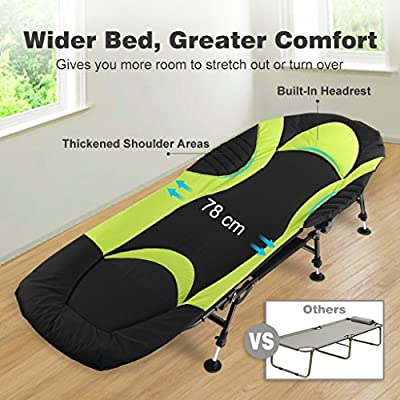Finether Carp Fishing Bed Chair Camping Bed with 6 Legs Height Adjustable and Mud Feet, Outdoor Bedchair for Beach Poolside Yard Patio Garden, Black and Green from Finether