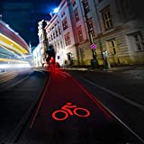 CYSHAKE Fahrrad Rücklicht Projektion USB wiederaufladbare 5LED Licht Modi Radfahren Warnlicht Kompaktes Rücklicht Automatische Abschaltung des Parkens (Color : Bicycle)