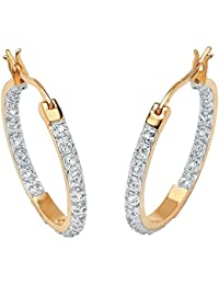 Pendientes de aro - Oro amarillo de 18k sobre plata de ley - Diamantes redondos