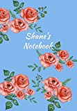 Shane's Notebook: Personalized Journal - Garden Flowers Pattern. Red Rose Blooms on Baby Blue Cover. Dot Grid Notebook for Notes, Journaling. Floral Watercolor Design with First Name