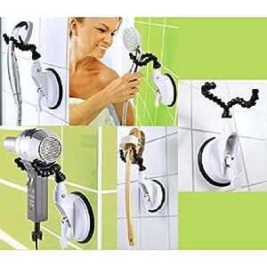 support brosse support ventouse pour pommeau de douche s che cheveux mural ventouse. Black Bedroom Furniture Sets. Home Design Ideas