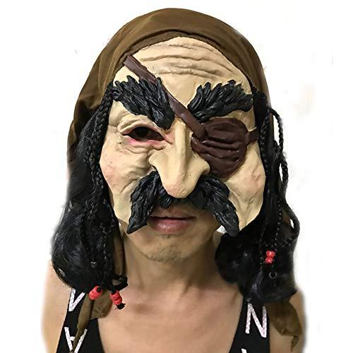 een Maske Party Super Horror Zombie Maske Pirat Halloween Grusel Maske Karneval Mottopartys,Brown ()