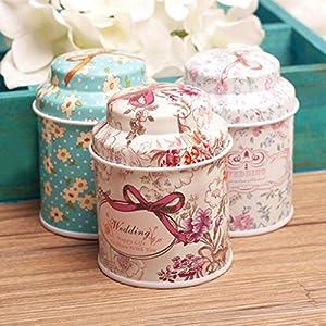 Rétro Maison de cuisine en métal Fleur Boîte à thé Sucre Café Pot de rangement Pot Cadeau Kangql
