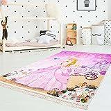 carpetcity Kinder-Teppich Druckteppich Flachflor Polyester Waschbar Cinderella Prinzessin Kutsche Rosa Pink Mädchen Kinderzimmer 130x200 cm