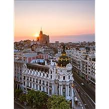 Cuadro sobre lienzo 30 x 40 cm: Gran Via at sunset, Madrid de Matteo Colombo - cuadro terminado, cuadro sobre bastidor, lámina terminada sobre lienzo auténtico, impresión en lienzo