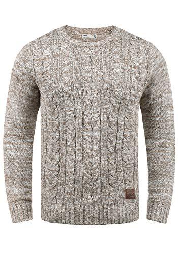 !Solid Philemon Herren Strickpullover Grobstrick Pulli Mit Rundhalsausschnitt Aus 100% Baumwolle Meliert, Größe:L, Farbe:Dune (5409)