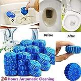 HuhuswwBin 10PCS Toilette detergente Automatico, Automatic Bleach WC Serbatoio smacchiatore Blue Tab Tablet detergente Blue