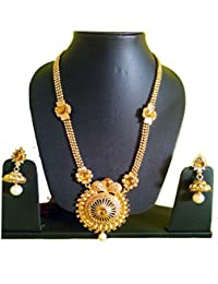 SONICKARTS Golden Colour Classy Designer Shimmering Stone Traditonla Necklace Set For Women/Girls