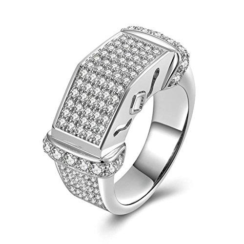 Anazoz anelli fidanzamento argento 925 bianco cubic zirconia incisione gratuita fedine nuziali misura 18,5