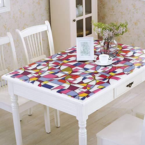 Danggl tovaglia trasparentepvc anti-scottatura in plastica morbida tavolo in vetro opaco tavolo da tè rettangolare custodia protettiva quadrata (colore : b, dimensioni : 90 * 90cm)