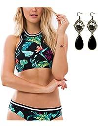 Sitengle Para Mujer Bañador Push up Floral Bikinis Conjuntos Deporte con Follaje Impresión Atractivo Traje de Baño Beachwear Swimsuit Swimwear dos Piezas