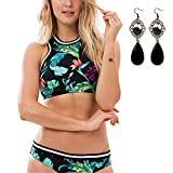 M-Queen Femme Bikini Set Maillot de Bain Noprne 2 Pices Padded Push-Up Halterneck Floral Swimwear Diving Suit Sportswear