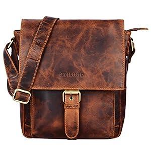 STILORD 'Nevio' Herrentasche Leder Umhängetasche kleine Messenger Bag Elegante Handtasche im Vintage Design Schultertasche für 10.1 Zoll Tablet iPad echtes Leder