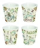 R2S 1455PARF Paris Forever Coffret Tasse à Café Céramique Multicolore 20 X 9 X 9 cm 4 Pièces