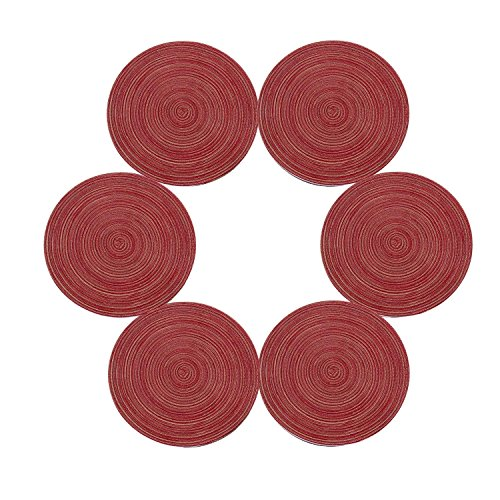 SHACOS Runde Tischsets Set von 6,Runde Baumwolle Platzsets Waschbar Hitzebeständig Geflochtene Weihnachten Tischsets,Perfekt für Festessen,Weihnachtsfeiern,Party,Dekoration usw.(35cm,Rot) -