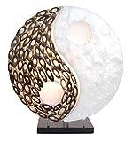 Lampe exotique motif Yin Yang nacre et bambou