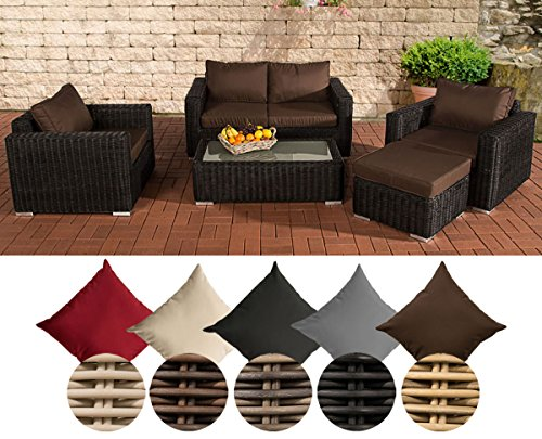 CLP Polyrattan-Lounge MADEIRA inklusive Polsterauflagen | Gartenmöbel-Set bestehend aus einem 2er-Sofa, zwei Sesseln einem Loungetisch und einem Hocker | In verschiedenen Farben erhältlich Bezugfarbe: Terrabraun, Rattan Farbe schwarz