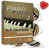 Piano Piano 2 mittelschwer - Die 100 schönsten Melodien von Klassik bis Pop für Klavier - mit 4 CDs und bunter herzförmiger Notenklammer