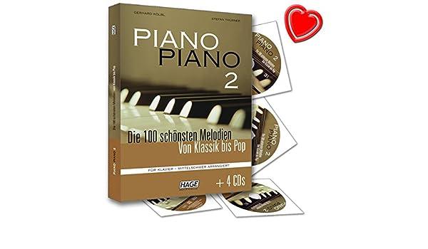 /avec 4/CD et color/é C/œur Note Pince Piano Piano 2/mittelschwer/ /Les 100/plus belles M/élodies de classique /à Pop Pour Piano/