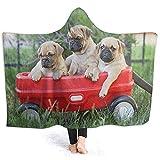 Henry Anthony Kapuzendecke Red Car Pug Dog Tragbare Fleecedecken für Kinder und Erwachsene 50x40 inch