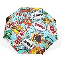 EZIOLY Comic Brazalete con Burbujas de Voz. Boom! Paraguas de Viaje Ligero Anti UV