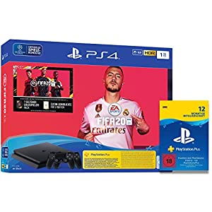 Sony Interactive Entertainment PlayStation 4 Slim – Konsole (1TB, schwarz) inkl. FIFA 20 + 2 DualShock Controller + PlayStation Plus Mitgliedschaft | 12 Monate | deutsches Konto | PS4 Download Code