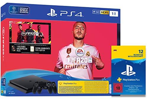 Sony Interactive Entertainment PlayStation 4 Slim - Konsole (1TB, schwarz) inkl. FIFA 20 + 2 DualShock Controller + PlayStation Plus Mitgliedschaft   12 Monate   deutsches Konto   PS4 Download Code