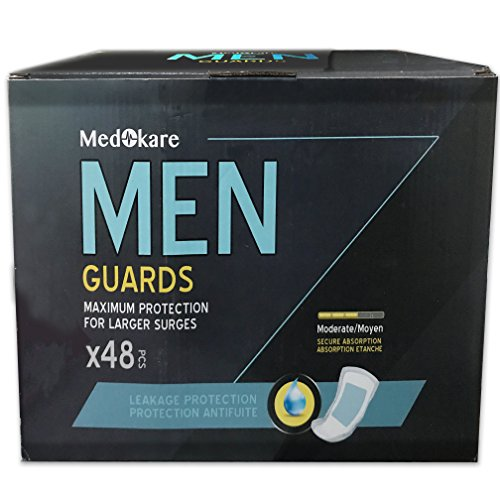 Medokare Absorbentes de incontinencia para hombres - 48pack, Ultra Dry 450ml Absorbency Men Pads for Leakage, Urine Protection Men Guards, Individualmente Wrapped Discreet Cup Bladder Control Pads Shields for Men