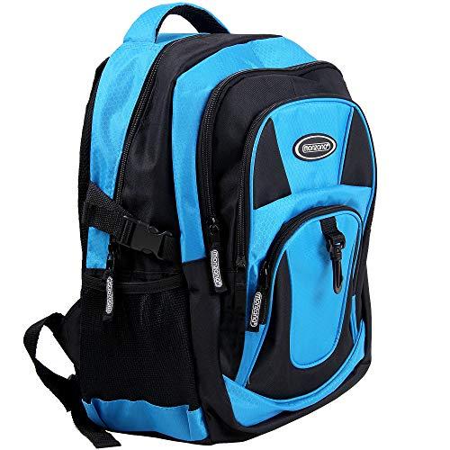 Monzana Rucksack Laptoprucksack Notebookrucksack Backpack Schulrucksack Schulranzen Freizeitrucksack 34 l Boden- und Innenfachpolster wasserabweisend strapazierfähig 7 Fächer blau-schwarz -