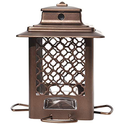 More Birds Stokes Select Vogelfutterstation für Vögel, Metall, 4 Futteröffnungen, 1 kg, Kupfer-Finish -