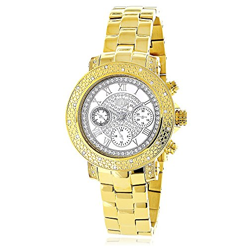 Yellow Gold Plated LUXURMAN Diamond Watch For Women 0.3ct White MOP Montana