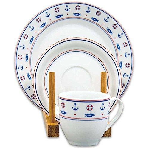 Tony Brown - Kaffeeservice 18 tlg. | Maritimes Dekor | Weiß | Blau | Rot | 6 Tassen (20cl.) | 6...