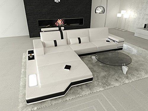 Divanova | divano moderno proxima angolare in similpelle - bianco e nero