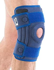 NEO G Stabilized Open Knee Support - Medical Grade Quality, x4 flexible stays for added support HELPS injured, arthritic knees, strains, sprains, pain, rehab, ACL, Meniscus Tear -ONE SIZE Unisex Brace