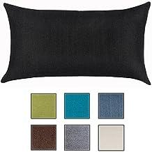 Almohada Para Sofá de Salosan, Cojín Lounge, Almohada Suave Decorativa, Relleno Hipoalergénico - 7 Colores Lisos, Medidas 40 x 70 cm (negro)
